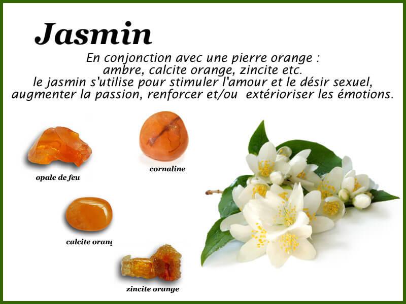 Propriétés du jasmin associé aux pierres de couleur orange