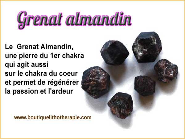 Grenat Almandin, une pierre du 1er chakra qui agit aussi sur le chakra du coeur et permet de régénérer passion et ardeur