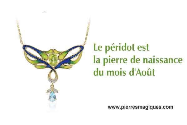 collier en péridot naturel