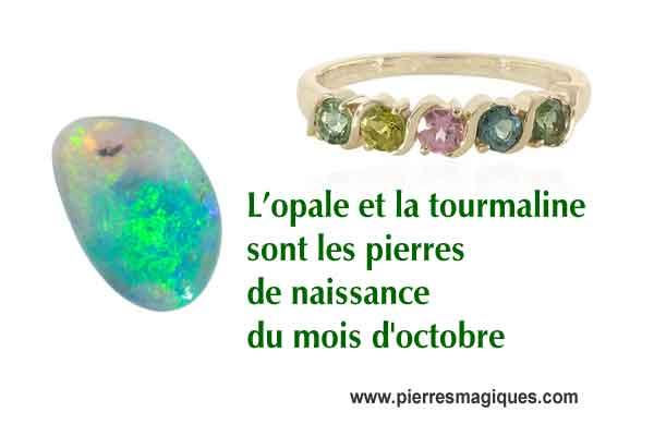 bijoux opale et tourmaline naturelle