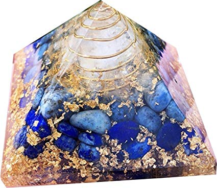 Orgonite de lapis-lazuli en forme de pyramide - pour la pratique du Reiki, la guérison et l'ouverture des chakras - superbe décoration - 65 mm - pochette incluse