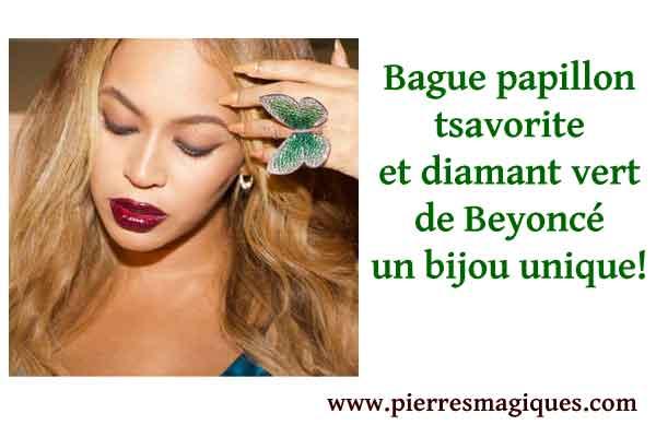 La bague papillon en grenat tsavorite et diamant vert de Beyoncé un bijou unique!